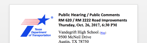 Please Attend Public Hearing for 620 / 2222 : October 26 @ Vandegrift