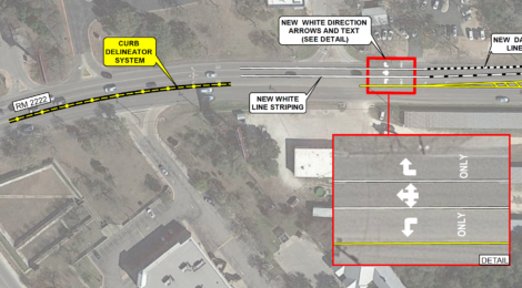 July 23rd: TXDOT planning re-striping of RM2222 near RM620
