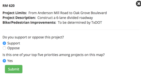 Prioritize RM620 and Four Points Roads: Travis County  Transportation Blueprint Survey